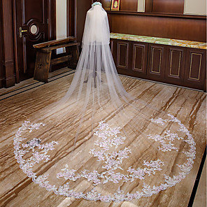 cheap Wedding Veils-Two-tier Floral Wedding Veil Cathedral Veils with Appliques Lace / Tulle / Mantilla