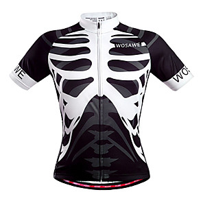 cheap Cycling Jersey & Shorts / Pants Sets-WOSAWE Men's Unisex Short Sleeve Cycling Jersey Black / White Skeleton Bike Jersey Top Breathable Quick Dry Back Pocket Sports Polyester Mountain Bike MTB Road Bike Cycling Clothing Apparel