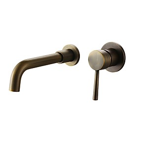 cheap Shower Faucets-Adjustable Bathroom Sink Faucet Oil-rubbed Bronze- Widespread Antique Wall Mounted Single Handle Two HolesBath Taps