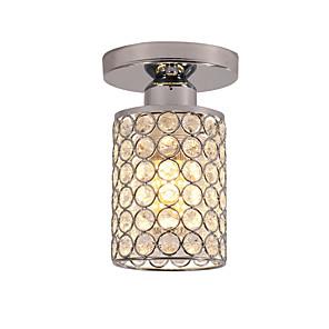 cheap Ceiling Lights-18 cm Semi Flush Mount Mini Ceiling Light Modern LED K9 Crystal Chrome 1-Light Dining Room Bedroom Ceiling Lamp E26/E27 Bulb Base