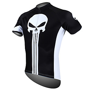 cheap Cycling Jerseys-ILPALADINO Men's Short Sleeve Cycling Jersey Polyester Yellow Red Orange Skull Bike Jersey Top Mountain Bike MTB Road Bike Cycling Breathable Quick Dry Ultraviolet Resistant Sports Clothing Apparel