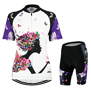 cheap Cycling Jersey & Shorts / Pants Sets-Arsuxeo Women's Short Sleeve Cycling Jersey with Shorts Green White / Black Orange Butterfly Bike Clothing Suit Breathable 3D Pad Quick Dry Anatomic Design Back Pocket Sports Polyester Elastane