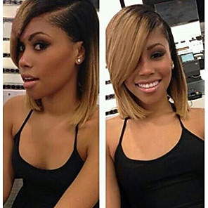 cheap Human Hair Wigs-Virgin Human Hair Unprocessed Human Hair Lace Front Wig Bob Short Bob Side Part Emma style Brazilian Hair Straight Blonde Wig 130% Density with Baby Hair Ombre Hair Dark Roots Natural Hairline