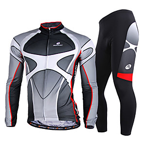 cheap Cycling Jersey & Shorts / Pants Sets-Nuckily Men's Long Sleeve Cycling Jersey with Tights Winter Fleece Polyester Lycra Gray Gradient Bike Clothing Suit Windproof Breathable Quick Dry Ultraviolet Resistant Reflective Strips Sports