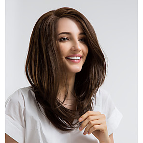 cheap Synthetic Lace Wigs-Synthetic Lace Front Wig Straight Side Part Lace Front Wig Medium Length Brown Synthetic Hair 16 inch Women's Natural Hairline Brown MAYSU
