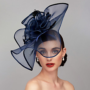 cheap Historical & Vintage Costumes-Antique Elegant & Luxurious Feather / Mesh / Linen / Rayon Kentucky Derby Hat / Fascinators / Headpiece with Feather / Floral / Flower 1pc Wedding / Special Occasion / Tea Party Headpiece