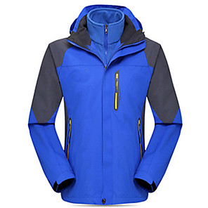 cheap Softshell, Fleece & Hiking Jackets-Men's Hiking Jacket Winter Outdoor Solid Color Thermal / Warm Waterproof Windproof Breathable Jacket Top Fleece Single Slider Camping / Hiking Hunting Fishing Black / Red / Army Green / Blue / Orange
