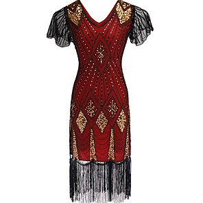 cheap Historical & Vintage Costumes-The Great Gatsby Charleston Vintage 1920s Roaring Twenties Flapper Dress Women's Sequins Costume Black / Red / black / Golden Vintage Cosplay Party Prom Short Sleeve Knee Length