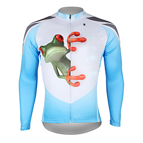 cheap Cycling Jersey & Shorts / Pants Sets-ILPALADINO Men's Long Sleeve Cycling Jersey Winter Blue and White Yellow Red Frog Bike Jersey Top Mountain Bike MTB Road Bike Cycling Breathable Quick Dry Ultraviolet Resistant Sports Clothing Apparel