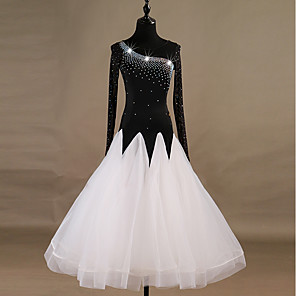cheap Latin Dancewear-Ballroom Dance Dress Crystals / Rhinestones Women's Training Long Sleeve High Nylon Organza Tulle
