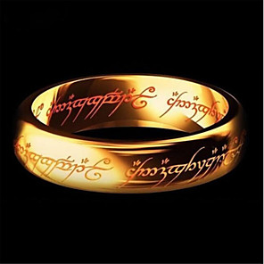 cheap Bracelets-Men's Band Ring Ring Groove Rings 1pc Black Gold Silver Titanium Steel Circular Artistic European Inspirational Daily Club Jewelry Classic Stylish Number Letter Lord of the Ring Cool