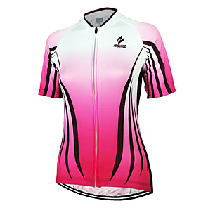 cheap Cycling Jerseys-Arsuxeo Women's Short Sleeve Cycling Jersey Pink Stripes Bike Jersey Top Mountain Bike MTB Road Bike Cycling Breathable Quick Dry Anatomic Design Sports Clothing Apparel / Stretchy