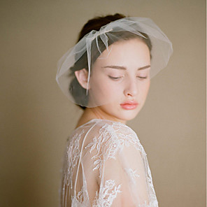 cheap Wedding Veils-One-tier Vintage Style / Classic Style Wedding Veil Blusher Veils with Solid Tulle / Birdcage