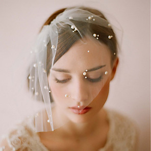 cheap Wedding Veils-One-tier Vintage Style / Classic Style Wedding Veil Blusher Veils with Faux Pearl / Solid Tulle / Birdcage