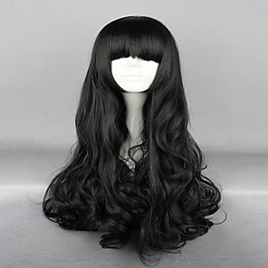 cheap Synthetic Lace Wigs-Synthetic Wig Cosplay Wig Wavy Wavy With Bangs Wig Very Long Natural Black Synthetic Hair Women's Black hairjoy