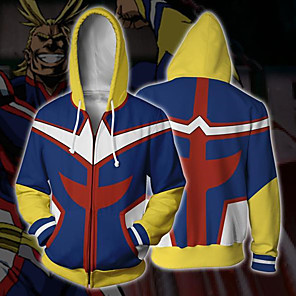 cheap Everyday Cosplay Anime Hoodies & T-Shirts-Inspired by My Hero Academy Battle For All / Boku no Hero Academia All Might Coat Hoodie Terylene Cartoon Stylish Hoodie For Men's / Women's