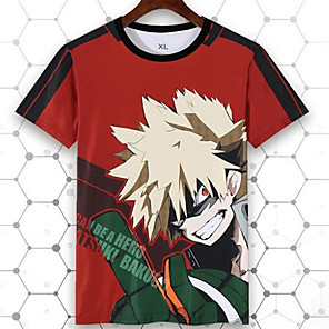 cheap Everyday Cosplay Anime Hoodies & T-Shirts-Inspired by My Hero Academy Battle For All / Boku no Hero Academia Cosplay T-shirt Poly / Cotton Cartoon Printing For Unisex