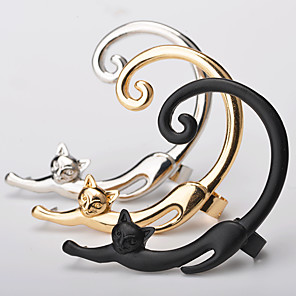 cheap iPhone Cases-Women's Ear Cuff Ear climbers Cat Animal Ladies Simple Earrings Jewelry Gold / Silver / Black For Going out Birthday 1pc