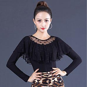 cheap Ballroom Dancewear-Ballroom Dance Top Lace Ruching Women's Performance Long Sleeve Ice Silk