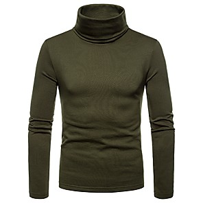cheap Mobile Signal Boosters-Men's Graphic Solid Colored T-shirt Daily Turtleneck Wine / Black / Army Green / Dark Gray / Brown / Navy Blue / Fall / Winter / Long Sleeve