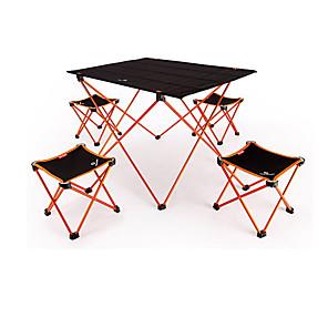 cheap Bikes-BEAR SYMBOL Camping Folding Table with Stools Portable Anti-Slip Ultra Light (UL) Foldable Oxford Cloth 7075 Aluminium 4 Stools 1 Table for Fishing Camping Autumn / Fall Spring Orange