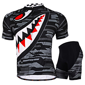 cheap Cycling Jersey & Shorts / Pants Sets-Nuckily Men's Short Sleeve Cycling Jersey with Shorts Gray Green Plus Size Bike Shorts Jersey Padded Shorts / Chamois Waterproof Breathable 3D Pad Ultraviolet Resistant Waterproof Zipper Sports