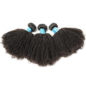 cheap 4 Bundles Human Hair Weaves-3 Bundles Hair Weaves Brazilian Hair Afro Curly Human Hair Extensions Remy Human Hair 100% Remy Hair Weave Bundles 300 g Natural Color Hair Weaves / Hair Bulk Human Hair Extensions 8-26 inch Natural
