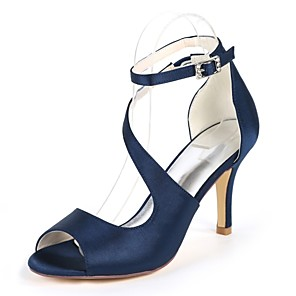 cheap Wedding Shoes-Women's Sandals Pumps Stiletto Heel Open Toe Buckle Satin Minimalism Spring & Summer Dark Purple / Champagne / Ivory / Wedding / Party & Evening / Party & Evening