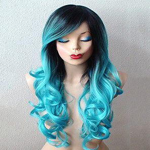cheap Synthetic Trendy Wigs-Synthetic Wig Cosplay Wig Curly Curly With Bangs Wig Long Smoke Blue Synthetic Hair Women's Ombre Hair Dark Roots Side Part Blue