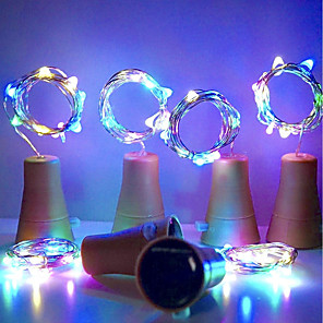 cheap LED String Lights-HKV® Solar 10led Wine Bottle Cork Shaped LED Starry String Lights Night Fairy Lights Lamp For Garden Wedding And Xmas Party