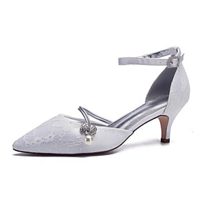 cheap Wedding Shoes-Women's Wedding Shoes Glitter Crystal Sequined Jeweled Kitten Heel Pointed Toe Imitation Pearl / Sparkling Glitter Lace / Satin Spring & Summer Champagne / White / Ivory / Party & Evening