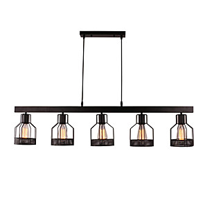 cheap Indoor Wall Lights-5-Light Vintage 5-Head Metal Cage Chandelier  Living Room Dining Room Retro Island Pendant Lighting Painted Finish