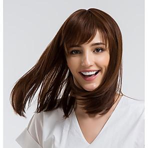 cheap Human Hair Capless Wigs-Human Hair Wig Straight Bob Brown Natural Hairline Capless Women's Brown 14 inch Daily Wear