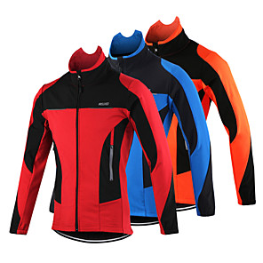 cheap Cycling Jerseys-Arsuxeo Men's Cycling Jacket Bike Jacket Top Thermal / Warm Windproof Breathable Sports Polyester Spandex Fleece Winter Orange / Red / Blue Mountain Bike MTB Road Bike Cycling Clothing Apparel