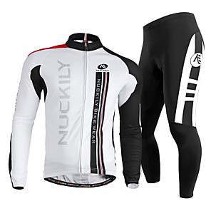 cheap Cycling Jersey & Shorts / Pants Sets-Nuckily Men's Long Sleeve Cycling Jersey with Tights Winter Fleece Polyester Lycra White Bike Clothing Suit Windproof Breathable Quick Dry Ultraviolet Resistant Reflective Strips Sports Vertical