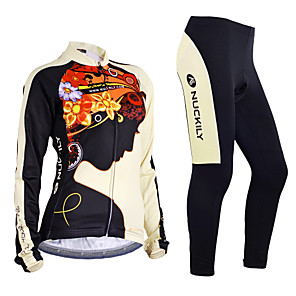 cheap Cycling Jersey & Shorts / Pants Sets-Nuckily Women's Long Sleeve Cycling Jersey with Tights Winter Fleece Polyester Lycra Black Floral Botanical Bike Jersey Clothing Suit Windproof Breathable Anatomic Design Reflective Strips Back Pocket