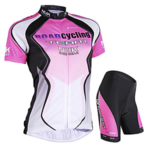 cheap Cycling Jersey & Shorts / Pants Sets-Nuckily Women's Short Sleeve Cycling Jersey with Shorts Elastane Polyester Pink Blue Gradient Bike Shorts Jersey Clothing Suit Waterproof Breathable Ultraviolet Resistant Waterproof Zipper Reflective
