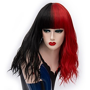 cheap Costume Wigs-Cosplay Costume Wig Synthetic Wig Curly Middle Part Wig Long Black / Red Synthetic Hair 18 inch Women's Fashionable Design Cosplay Red Black
