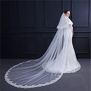cheap Wedding Veils-Two-tier Vintage Style / Flower Style Wedding Veil Chapel Veils with Appliques / Solid 118.11 in (300cm) Lace / Tulle / Classic