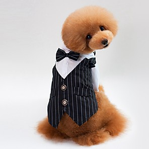 cheap Dog Clothes-Dogs Cats Tuxedo Dog Clothes Black Blue Costume Pug Bichon Frise Schnauzer Cotton Striped Party / Evening Wedding S M L XL XXL