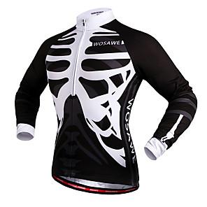 cheap Cycling Jerseys-WOSAWE Men's Women's Cycling Jersey Winter Polyester Bike Jersey Top Windproof Reflective Strips Back Pocket Sports Skeleton White / Black Mountain Bike MTB Road Bike Cycling Clothing Apparel Advanced