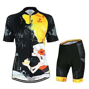 cheap LED Flood Lights-Arsuxeo Women's Short Sleeve Cycling Jersey with Shorts Black / Yellow Floral Botanical Bike Clothing Suit Breathable Quick Dry Anatomic Design Back Pocket Sports Polyester Elastane Floral Botanical