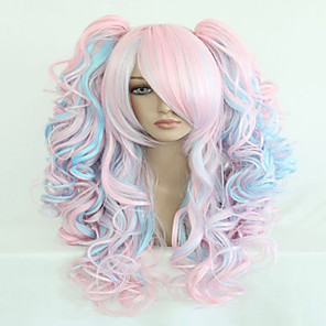 cheap Costume Wigs-Cosplay Costume Wig Synthetic Wig Cosplay Wig Harley Quinn Wavy Wavy Layered Haircut With Bangs With Ponytail Wig Pink Long Pink Black Purple Red Blonde Synthetic Hair Women's Highlighted / Balayage