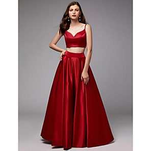 cheap Historical & Vintage Costumes-Ball Gown Elegant Two Piece Prom Formal Evening Dress Spaghetti Strap Sleeveless Floor Length Satin with Pleats 2020