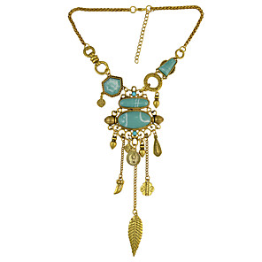 cheap Necklaces-Women's Turquoise Statement Necklace Vintage Necklace Vintage Style Long Leaf Creative Ladies Vintage Renaissance Stone Alloy Gold Silver 44+7 cm Necklace Jewelry 1pc / pack For Evening Party Formal