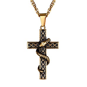 cheap Men's Necklaces-Men's Pendant Necklace Braided Cross Fashion Stainless Steel Black Blue Gold Silver 55 cm Necklace Jewelry 1pc For Gift Daily