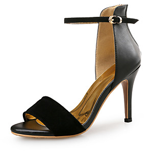cheap Women's Sandals-Women's Sandals Spring Fall Pumps Open Toe Party & Evening Office & Career Patent Leather Snakeskin Almond / White / Black