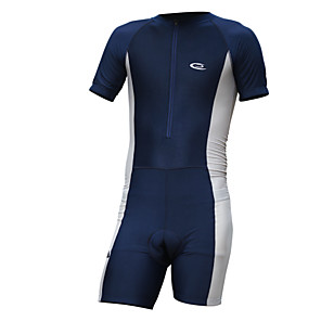 cheap Triathlon Clothing-Men's Short Sleeve Cycling Jersey with Shorts Blue Navy Solid Color Bike Shorts Jersey Clothing Suit Breathable 3D Pad Moisture Wicking Quick Dry Sports Spandex Lycra Solid Color Mountain Bike MTB
