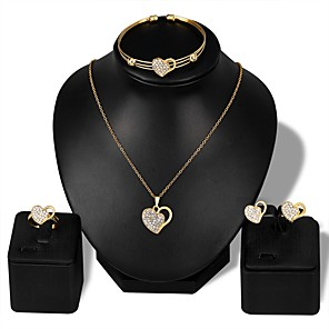 cheap Jewelry Sets-Women's Cuff Bracelet Stud Earrings Pendant Necklace Classic Hollow Out Heart Ladies Stylish Classic Rhinestone Rose Gold Plated Earrings Jewelry Gold For Daily Evening Party 1 set / Open Ring
