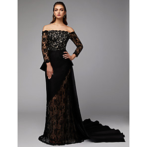 cheap Evening Dresses-Two Piece Sheath / Column Elegant Celebrity Style Formal Evening Dress Off Shoulder Long Sleeve Court Train Lace Satin with Appliques 2020 / Illusion Sleeve